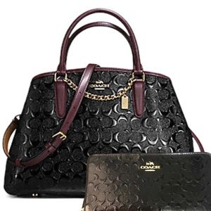 Coach Black Small Margot Carryall & Wallet NWT